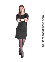 business woman holding credit card - young smiling business...