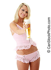 Young atractive blonde and beer - Young atractive blonde in...