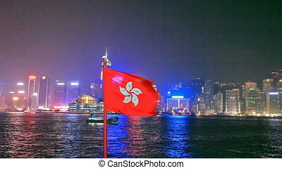 Hong Kong flag cityscape - Night View of the illuminated...