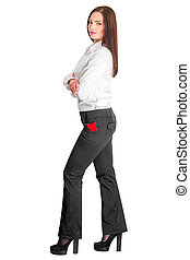 business woman holding credit card - young pretty business...