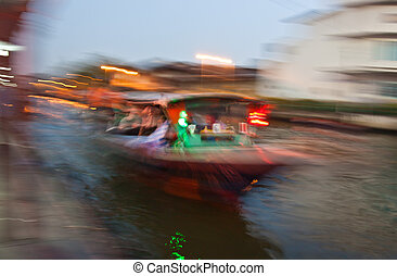 Getting on the boat view abstract blur motion, Thailand.