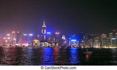 Night View of the illuminated Hong Kong Harbor
