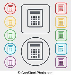 Calculator icon sign. symbol on the Round and square buttons with frame. Vector