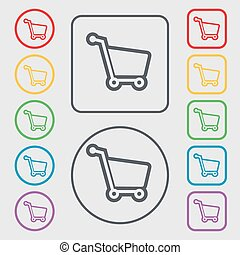 Shopping cart icon sign. symbol on the Round and square buttons with frame. Vector