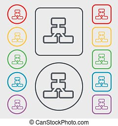 Network icon sign. symbol on the Round and square buttons with frame. Vector