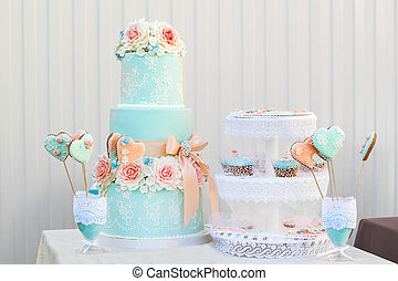 blue candy bar. the holiday table decoration