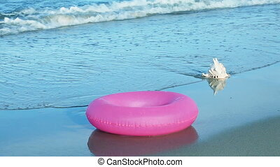 Seashell and inner tube on the sand in the tidal zone