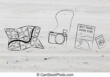 vacation and travel: essential objects - illustration with...