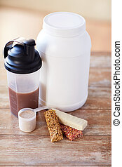 close up of protein food and additives on table - sport,...