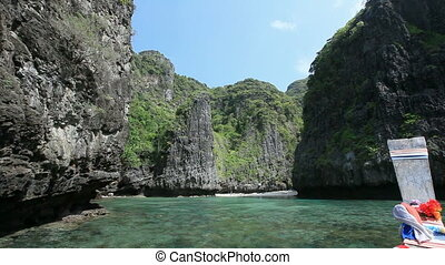 Small lagoon among the rocks in the way to Maya bay. Phi Phi...
