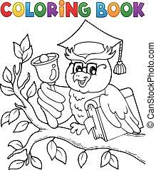 Coloring book owl teacher theme 1
