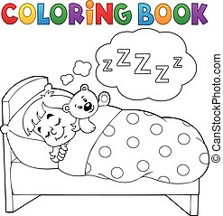 Coloring book sleeping child theme 1 - eps10 vector...