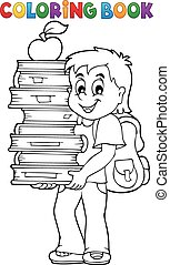 Coloring book with boy holding books - eps10 vector...