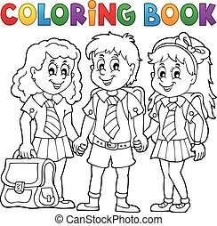 Coloring book with school pupils