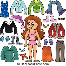 Girl and clothes theme set 2 - eps10 vector illustration.