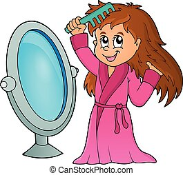 Girl combing hair theme 1 - eps10 vector illustration.