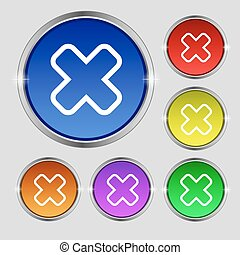 Cancel icon sign Round symbol on bright colourful buttons...