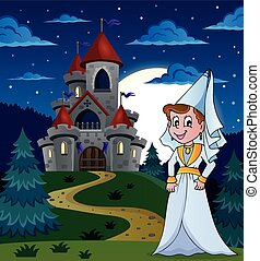 Medieval lady near night castle - eps10 vector illustration.