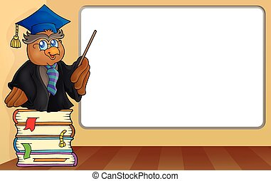 Owl teacher by whiteboard - eps10 vector illustration.