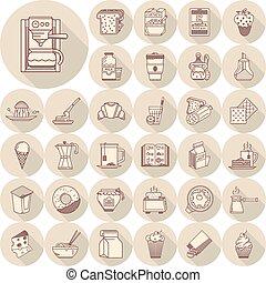Breakfast line vector icons big set