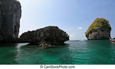 Lagoon among the rocks in the way to Maya bay. Phi Phi...