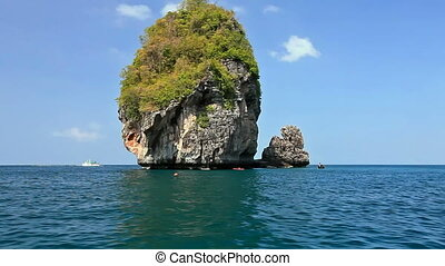 Small rock on the way to the Maya bay. Phi Phi Thailand.