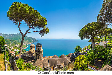 Scenic picture-postcard view of famous Amalfi Coast with...