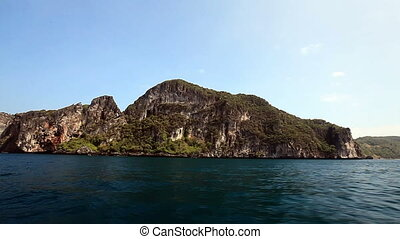 Rocky Islands on the way to the Maya bay. Phi Phi Thailand.