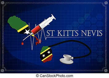 Map of St kitts nevis with Stethoscope and syringe.