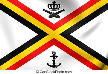 Naval Ensign of Belgium - 3D Naval Ensign of Belgium Close...