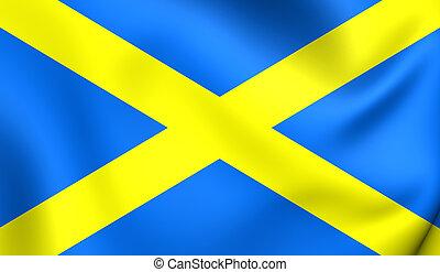 Saint Albans Cross, Kingdom of Mercia 3D Flag Close Up