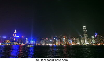 Night View of the illuminated Hong Kong Harbor