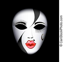 face mask - dark background and the large white-red carnival...