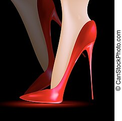 feet in the red shoes - dark background and feet in a red...