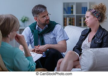 Pair with problem during psychotherapy - Picture of young...