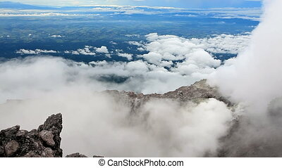 View from the top of the Merapi volcano. Lava dome in the...