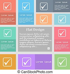 A check mark icon sign. Set of multicolored buttons with space for text. Vector