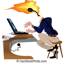 Bright idea - Employee cartoon working on laptop with bright...