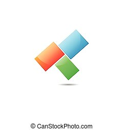Abstract logo - Three color squares ith shadow isolated on...