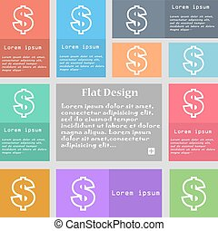 Dollar icon sign. Set of multicolored buttons with space for text. Vector