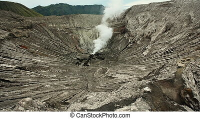 View inside the Bromo crater. Crater in the foreground,...
