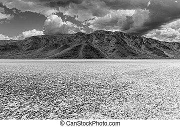 Mojave Desert Salt Flat Black and White - Mojave desert dry...