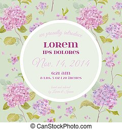 Baby Arrival or Shower Card - with Vintage Flower Design - in vector