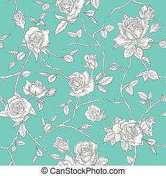 Floral Roses Background - Seamless Vintage Pattern - in vector