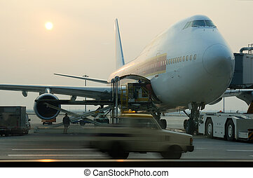 Loading cargo to airplane in a airport