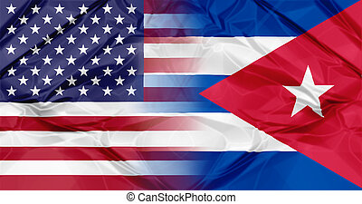 Cuba and USA flags
