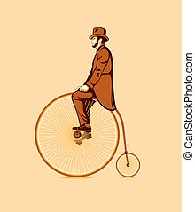 Riding a penny farthing - Gentleman riding a retro penny...
