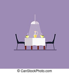 Dining table and chairs. Flat style vector illustration.