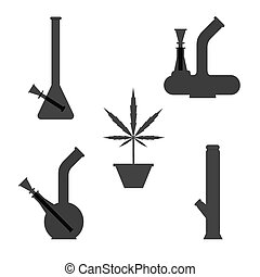 Marijuana equipment. Set of different bongs with cannabis...