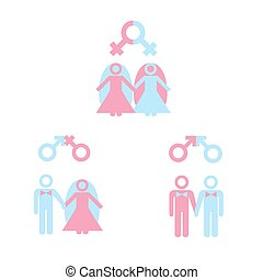 Gay marriage - LGBT concept. Gay marriage icon set. Icons of...